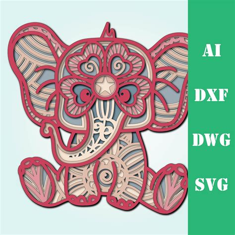 Colored drawings have each color on separate layers. Layered Mandala Baby Elephant Svg Printable - SVG Layered