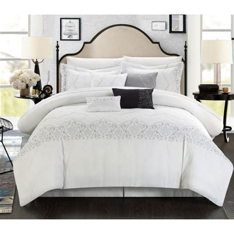 grace  piece embroidered white comforter set bedrooms