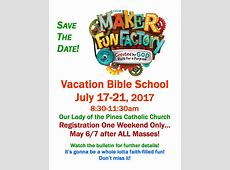 Vacation Bible School Registration Our Lady of the Pines