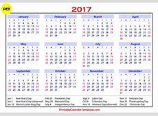 2017 Calendar With Holidays monthly calendar 2017