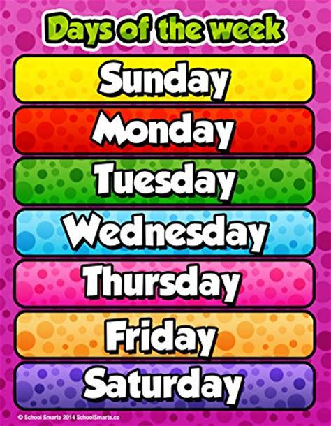 days of the week chart by school smarts fully laminated 655 | 616rMtSogCL