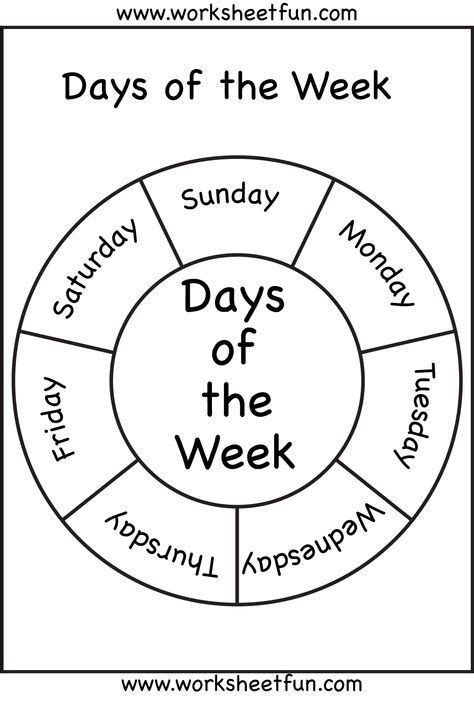 days   week  images english worksheets