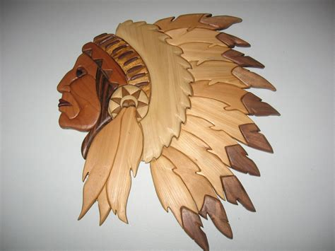 indian head handmade intarsia wood art wall hanging