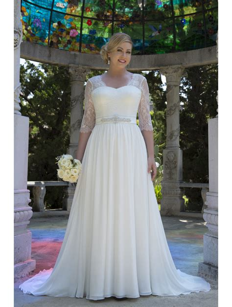 informal lace chiffon modest  size wedding dresses