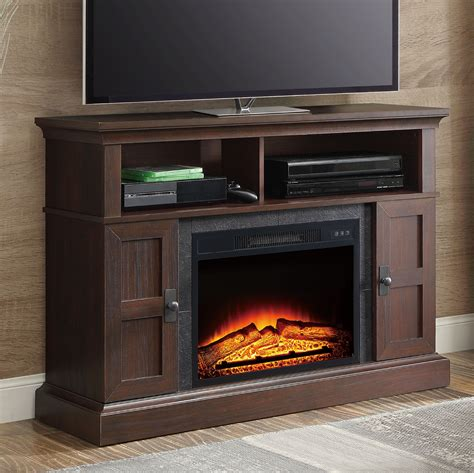 media fireplace tv stand whalen media fireplace console for tvs up to 55 quot 7417