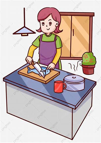 Fish Cooking Chef Making Female Clipart Psd