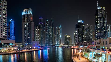 dubai night marina landscape club sea travel lake water light hd vacation booking 8k cityscape skyline wallpapers architecture 4k yacth