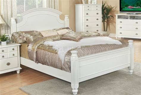 White Finish Transitional 6pc Bedroom Set Woptions