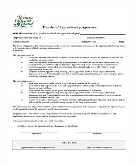 Apprenticeship Contract Template 7 Apprenticeship Agreement Form Sles Free Sle