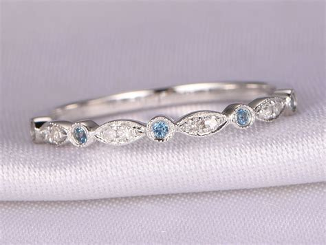 natural diamond topaz wedding ring london blue topaz ring stackable ring art deco band