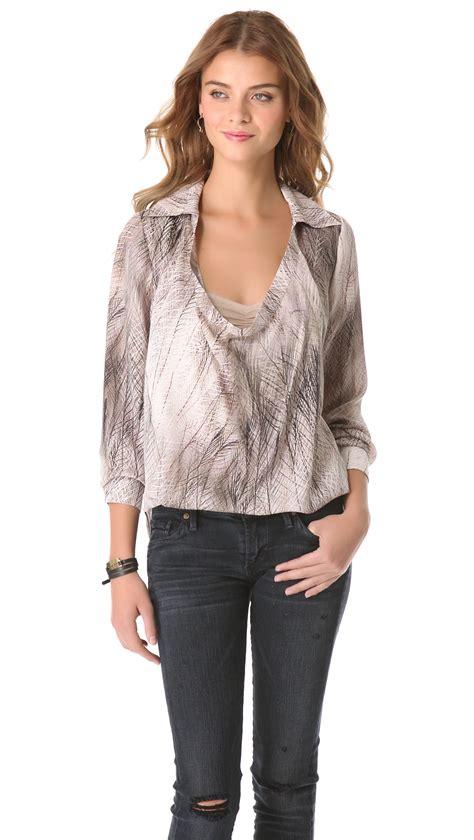 haute hippie blouse haute hippie printed cowl blouse in gray multi lyst