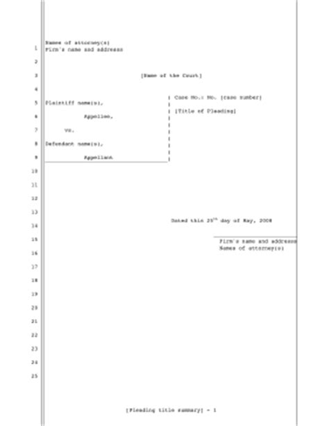 pleading paper template printable pleading template for appellee to respond to appellant 25 lines pleading