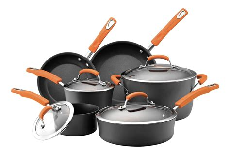 cookware nonstick ray rachael safe dishwasher orange pots pans cooking kitchen anodized hard healthy sets oven glass amazon rachel ii
