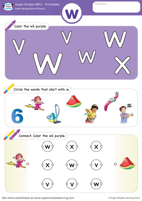 Letter Recognition & Phonics Worksheet  W (lowercase)  Super Simple