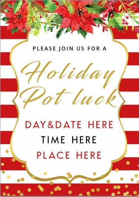 potluck invitation   templates amazing ideas  wordings   ch christmas party
