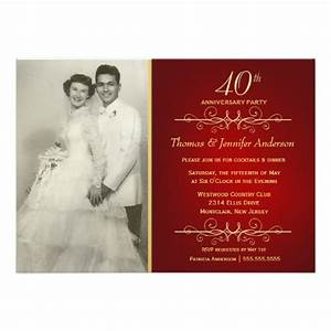 Elegant 40th ruby wedding anniversary invitations 5quot x 7 for 40th wedding anniversary invitations