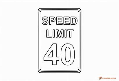 Coloring Signs Traffic Speed Limit Road Pages