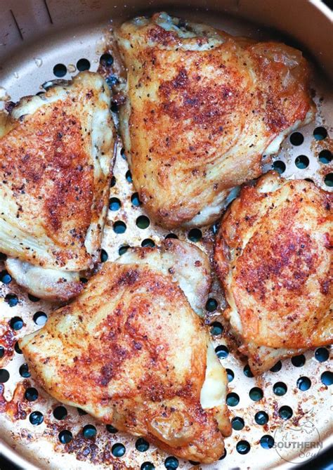 chicken fryer thighs air fried crispy recipes asouthernsoul southern cooked soul skin thigh juicy fry fresh oven