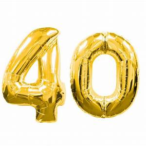 """Large Gold Number 40 Balloons (40""""), Gold 40th Birthday"""