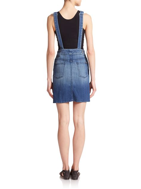 7 for all mankind Denim Overall Dress in Blue | Lyst