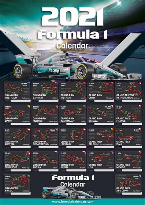formulekalenders poster  kalender met starttijden en