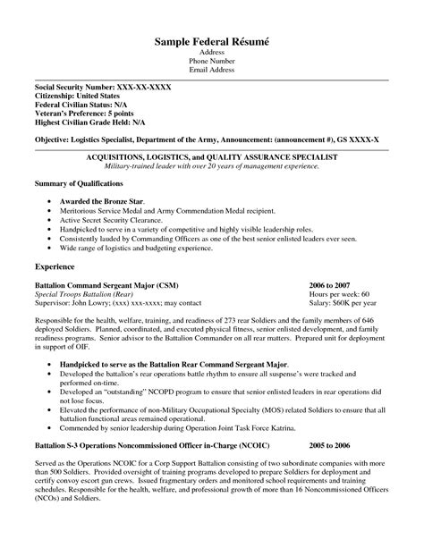 Federal Resume by Federal Resume Exle Ipasphoto