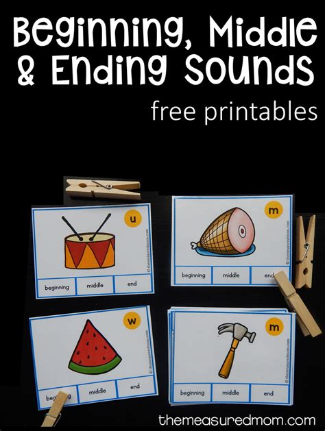 Free Beginning, Middle, And Ending Sound Clip Cards  Kindergarten, Middle And Phonics