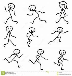 Stick Man Stick Figure Happy Running Walking