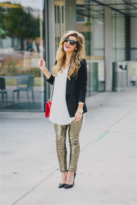 Holiday Party Outfit NYE sequin leggings