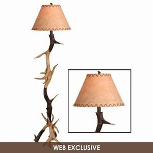 antler floor lamp with faux leather shade With antler floor lamp with faux leather shade