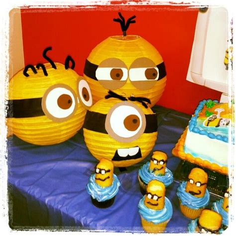 minions birthday party theme turn yellow chinese lanterns