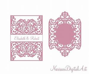 this laser cut svg invitation monogram frame belly band With wedding invitation belly band size