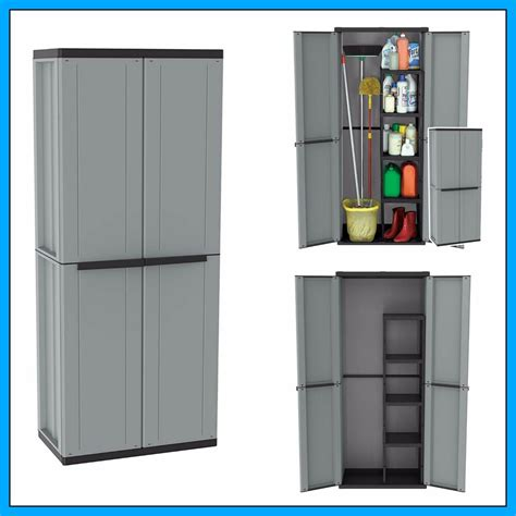 Plastic Storage Cupboards by Outdoor Utility Cabinet 2 Door Plastic Cupboard Shelves