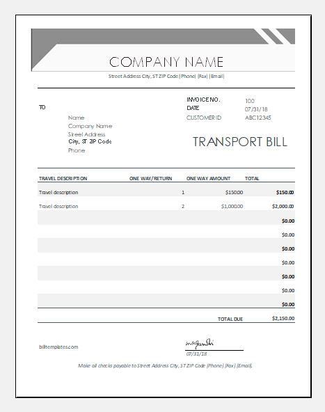 transport bill formats templates  ms excel word