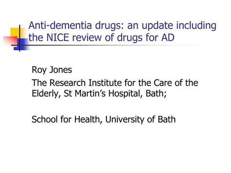 Ppt Anti Dementia Drugs An Update Including The Nice