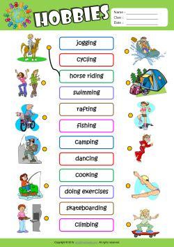 hobbies esl matching exercise worksheet  kids