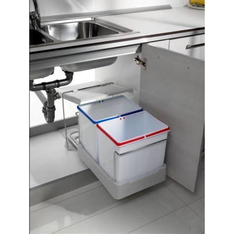 poubelle cuisine sous evier poubelles coulissantes pour tri sélectif 2 bacs de 15 l