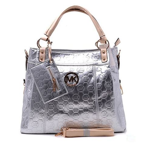 michael kors classic tote silve white handbags outlet