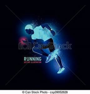 Neon man runner vector Neon glowing backlit silhouette of