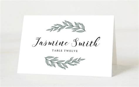 Place Name Cards Template by Editable Wedding Place Cards Template Printable Place