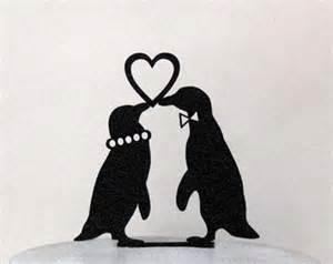 birds wedding cake topper penguin wedding etsy