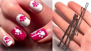 HELLO KITTY Inspired Nails... Using A Bobby Pin?! Easy ...