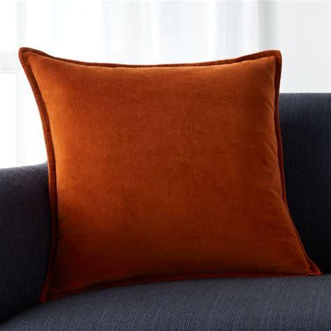 "Brenner Rust Orange 20"" Velvet Pillow with Feather Down"