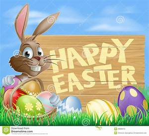 Happy Easter Sign stock vector. Image of bunny, holiday ...
