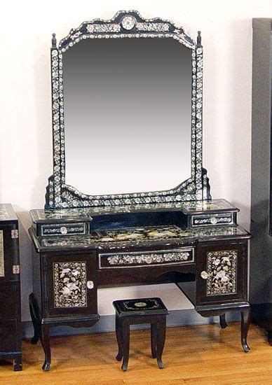 korean mother  pearl inlaid black lacquer vanity