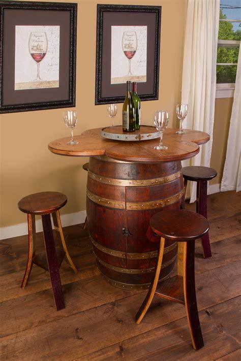 wine barrel table set cabinet base handcrafted   usa