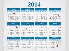 Calendário 2014 de feriados e dias festivos