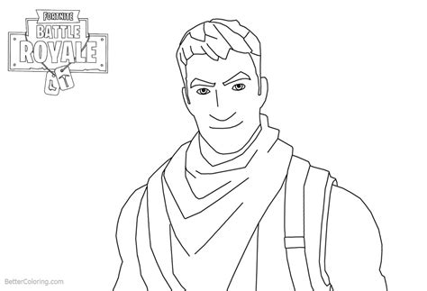 Fortnite Coloring Pages Characters Man Smile