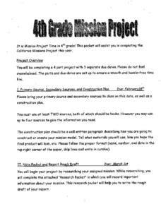 4th grade mission project template 4th grade mission project 4th 6th grade worksheet lesson planet