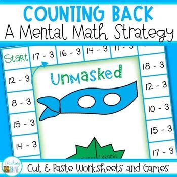 counting  subtraction strategy cut paste worksheets